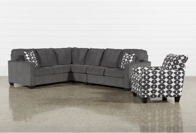 Turdur 3 Piece Right Arm Facing Sectional With Accent Chair - 360
