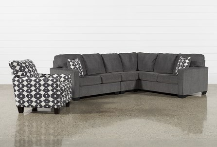 Turdur 3 Piece Laf Sectional With Accent Chair