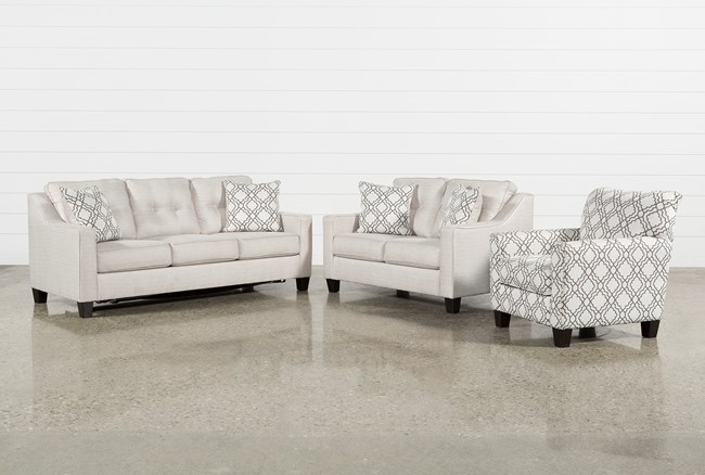 Linday Park 3 Piece Living Room Set With Queen Slrp And Accent Chair - 360
