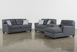 Jacoby Gunmetal 3 Piece Living Room Set
