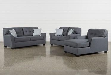 Jacoby Gunmetal 3 Piece Living Room Set