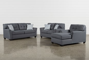 Jacoby Gunmetal 3 Piece Living Room Set With Full Sleeper