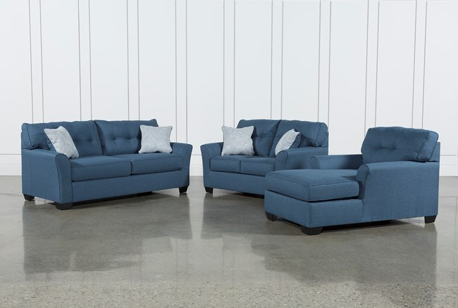 Jacoby Denim 3 Piece Living Room Set With Full Sleeper - 360