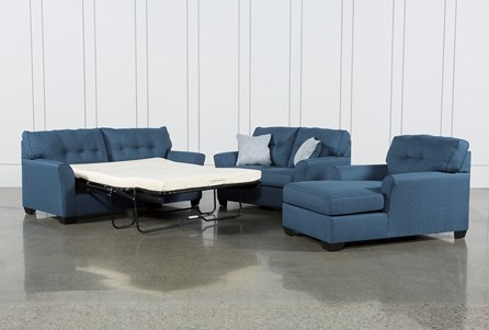 Jacoby Denim 3 Piece Living Room Set With Full Sleeper