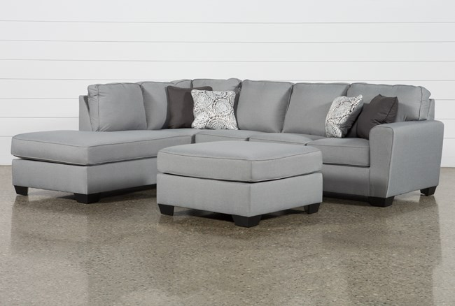 Mcdade Ash Left Facing Sectional With Oversized Accent Ottoman - 360