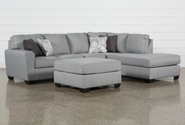 Mcdade Ash Right Facing Sectional With Oversized Accent Ottoman