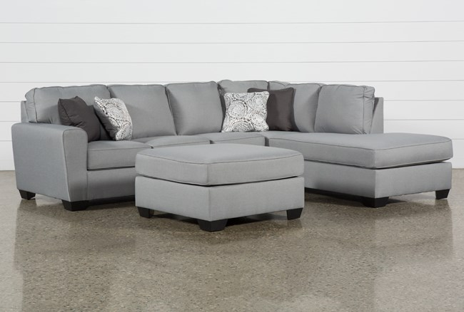 Mcdade Ash Right Facing Sectional With Oversized Accent Ottoman - 360