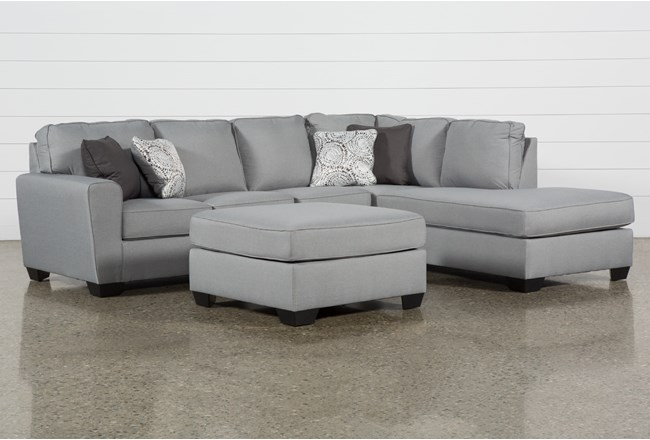 Mcdade Ash Right Arm Facing Sectional With Oversized Accent Ottoman - 360