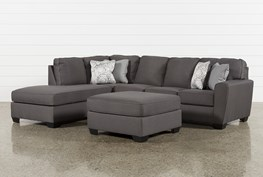 Mcdade Graphite Left Facing Sectional With Oversized Accent Ottoman