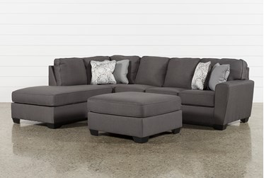 Mcdade Graphite Left Arm Facing Sectional With Oversized Accent Ottoman