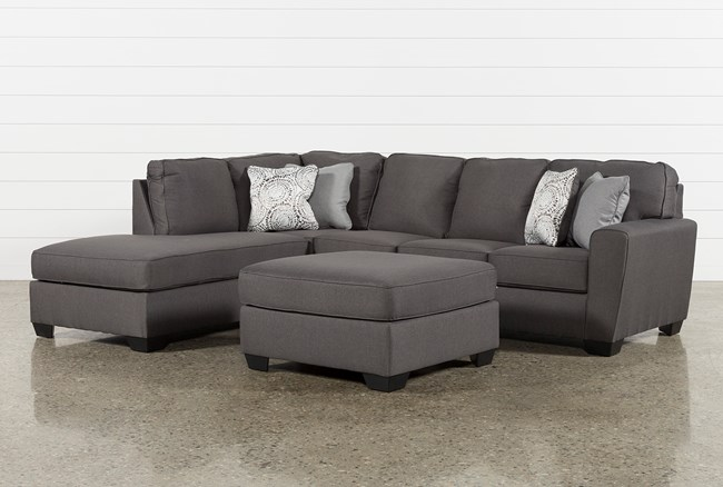 Mcdade Graphite Left Facing Sectional With Oversized Accent Ottoman - 360