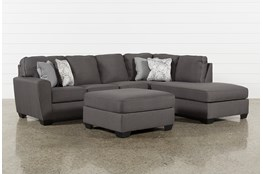 Mcdade Graphite Right Arm Facing Sectional With Oversized Accent Ottoman
