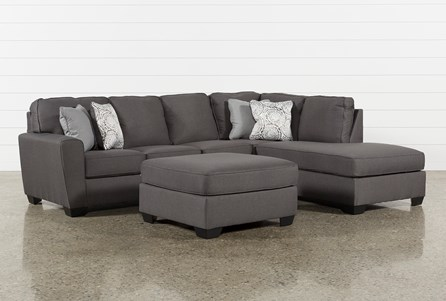 Mcdade Graphite Raf Sectional With Oversized Accent Ottoman
