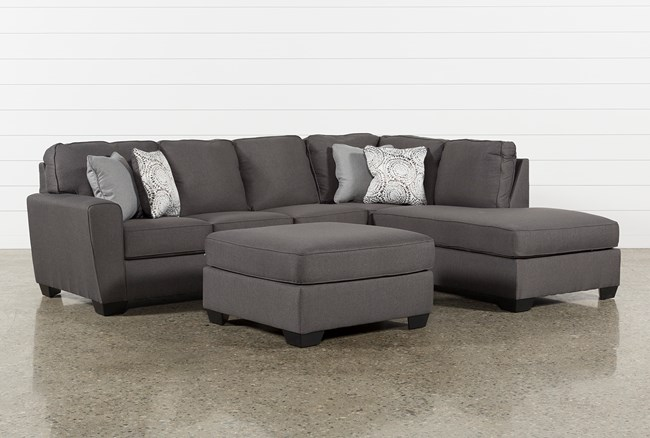 Mcdade Graphite Right Facing Sectional With Oversized Accent Ottoman - 360