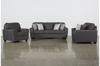 Mcdade Graphite 3 Piece Living Room Set