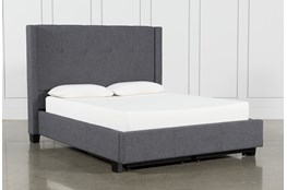 Damon Charcoal Full Upholstered Platform Bed With Storage