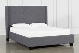 Damon Charcoal Full Upholstered Platform Bed