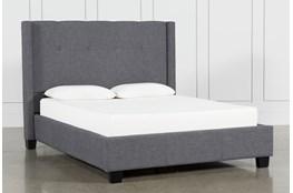 Damon Charcoal Full Upholstered Platform Bed