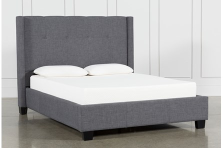 Damon Charcoal Full Upholstered Platform Bed - Main