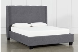 Damon Charcoal Queen Upholstered Platform Bed