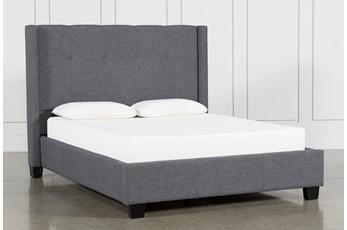 Damon Charcoal Queen Upholstered Platform Bed