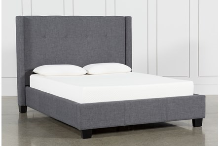 Damon Charcoal Queen Upholstered Platform Bed - Main