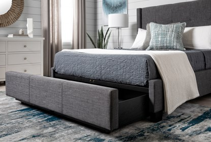 Damon Charcoal California King Upholstered Platform Bed With Strg Living Spaces
