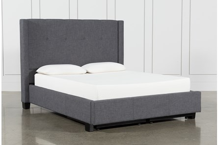 Damon Charcoal Eastern King Upholstered Platform Bed With Storage