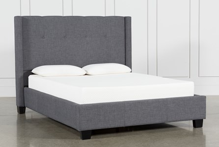 Damon Charcoal Eastern King Upholstered Platform Bed