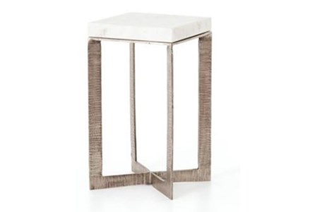Brushed Nickel & White Marble End Table