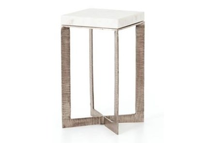 Brushed Nickel & White Marble End Table - Main