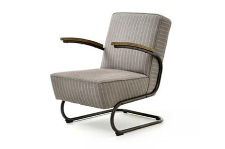 Grey Stripe Twill Club Chair