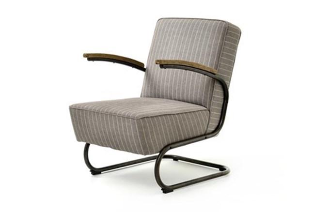 Grey Stripe Twill Club Chair - 360