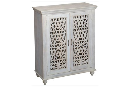 White Wash Perforated Door Cabinet
