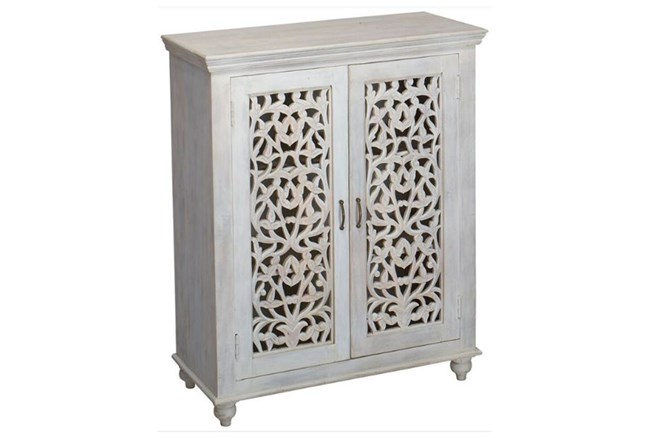 White Wash Perforated Door Cabinet - 360