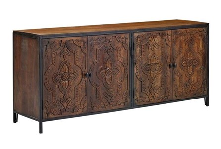 Carved 4 Door Metal Frame Sideboard