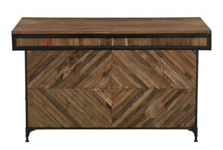 Reclaimed Wood And Metal Wine Cabinet