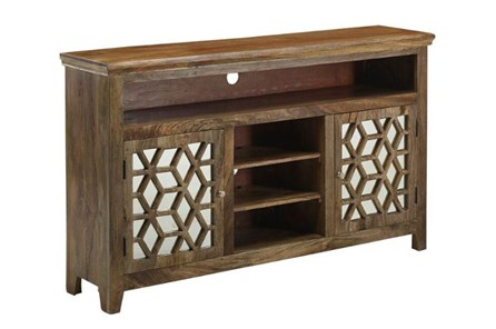 Natural Wood Mirrored Media Console