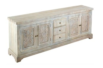 "White Wash Carved Door Jumbo 94"" Sideboard"