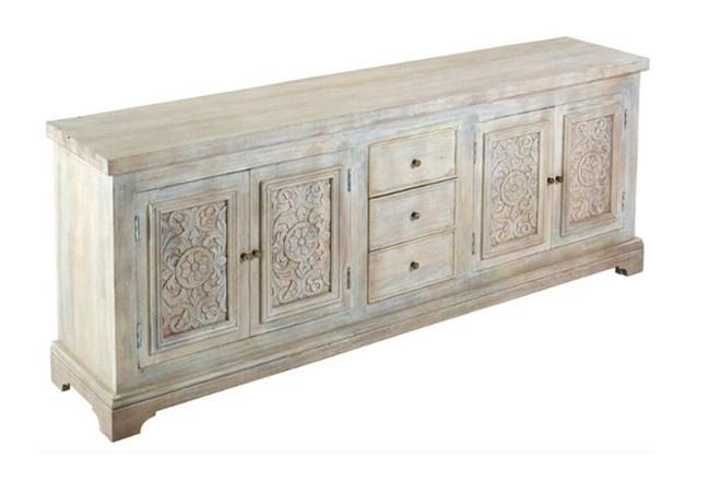 "White Wash Carved Door Jumbo 94"" Sideboard - 360"
