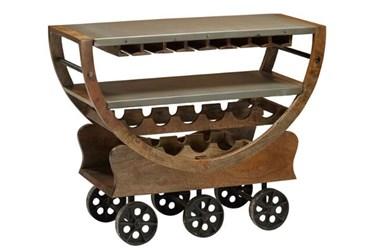 Mango Wood Wine Cart On Wheels