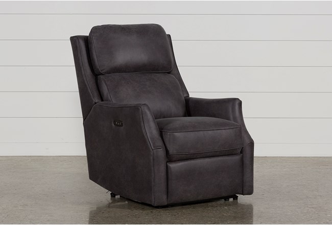 Chase Charcoal Power Recliner W/Power Headrest & Usb - 360