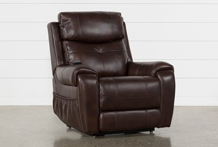 CARL CHOCOLATE LEATHER PWR LIFT RECLINER W/PWR HEADREST AND HEAT