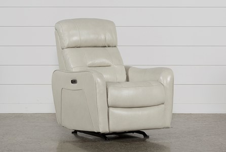 Cici Pearl Leather Power Rocker Recliner W/Power Headrest & Usb
