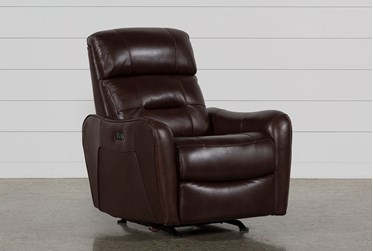 Cici Chocolate Leather Power Rocker Recliner With Power Headrest & USB