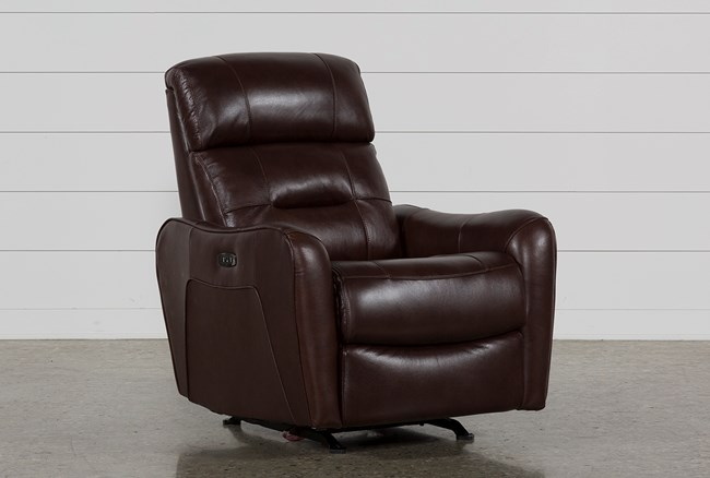Cici Chocolate Leather Power Rocker Recliner With Power Headrest & USB - 360