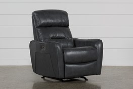 Cici Grey Leather Power Rocker Recliner W/Power Headrest & Usb