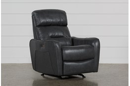 Cici Grey Leather Power Rocker Recliner With Power Headrest & USB