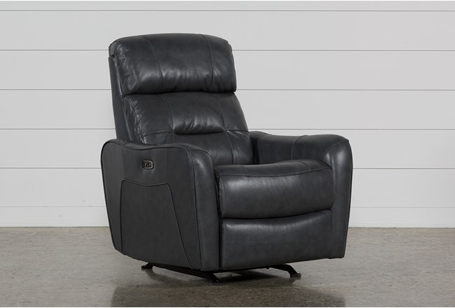 Cici Grey Leather Power Rocker Recliner With Power Headrest & USB - 360