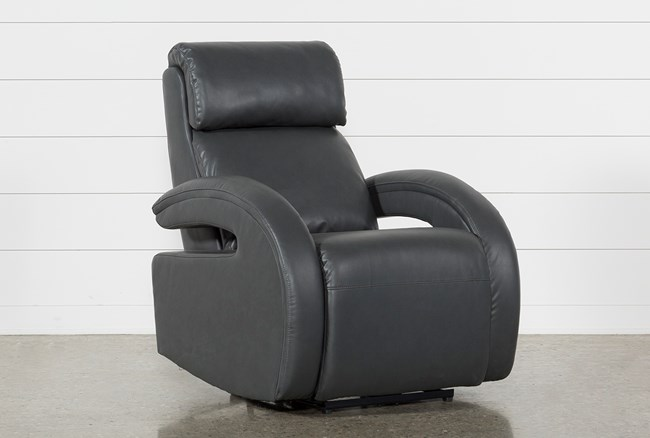 Cassie Smoke Power Recliner W/Pwr Headrest, Power Lumbar & Usb - 360